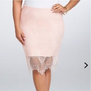 Torrid 4X pink lace overlay skirt